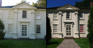Pepperell Mansion before, after of walkway